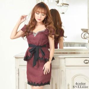 ebf61f27e2d6a ドレス キャバ ワンピース 大きいサイズ SMLサイズ ウエストリボンジャガードペプラムタイトミニドレス キャバドレス 3