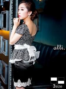 ddd46458f0ec5 ドレス キャバ ワンピース S Mサイズ リボン付きぺプラムタイトミニドレス キャバドレス