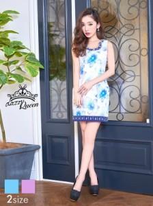 ドレス キャバ ワンピース 大きいサイズ SMLサイズ パール&ビジュー&ラインストーン付花柄ノースリタイトミニドレス キャバドレス