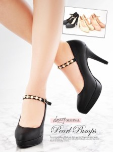 [4サイズ 35/36/37/38] 11cmヒール パールストラップアーモンドトゥパンプス / 靴 厚底