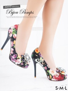 ビジュー付花柄オープントゥパンプス / 靴