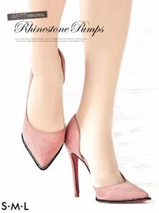 [3サイズ S/M/L] オーロラビジュー付スエードポインテッドパンプス / 靴 dazzystoreオリジナル
