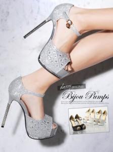 パンプス 靴 S/M/L/LL 14cmヒール チャーム付きキラキラオープントゥパンプス シューズ キャバ