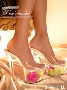 送料無料 [S,M,L,LL] 17cmヒール エレガントローズクリアサンダル / ミュール 薔薇サンダル 厚底 靴 シューズ