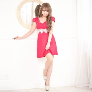 ドレス キャバ ワンピース 大きいサイズ SMLサイズ ウエスト透け魅せフレアミニドレス キャバドレス 3/24再入荷