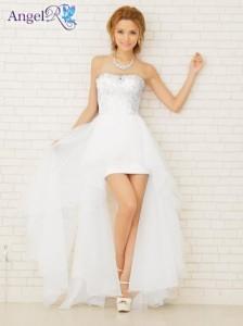 送料無料 ドレス キャバ [Angel R]シルバーレース刺繍オーガンジーベアインナーミニロングドレス