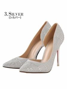 [4サイズ S/M/L/LL] 10cmヒール ビジューヒールポインテッドトゥパンプス / 靴 dazzystoreオリジナル
