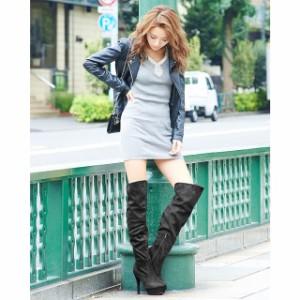 13cmヒール スエード&スムース美脚ニーハイブーツ / 厚底 靴