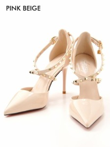 [outlet/59%OFF]スタッズ付クロスアンクルストラップポインテッドトゥパンプス / 靴
