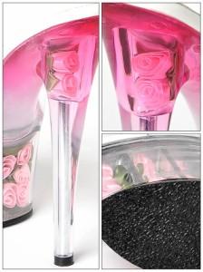 [1位獲得☆4点SET][17cmヒール]3段ローズインソールグラデ 薔薇サンダル 靴 ミュール クリア キャバ 厚底