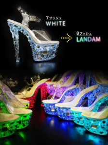 [outlet/49%OFF] [4サイズ S/M/L/LL] 17cmヒール 7色LED搭載光るネオンビジュー付クリアサンダル LUMINEON SANDAL ルミネオンサンダル
