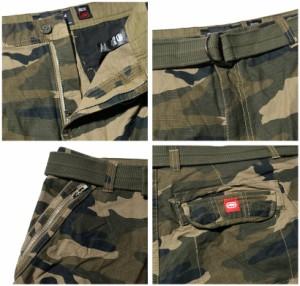 ECKO unltd エコーアンリミテッド 迷彩柄 カーゴパンツ ショーツ 短パン ハーフパンツ メンズ ベルト付 大きいサイズ