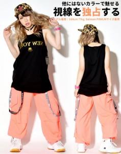 蛍光色 ネオンカラー ダンスパンツ レディース メンズ 大きいサイズ サスペンダー hiphop ヒップホップ 服 衣装 文化祭 体育祭
