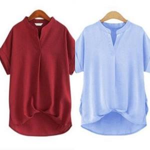 シンプル ゆったり Vネック 半袖 Tシャツ カットソー 無地
