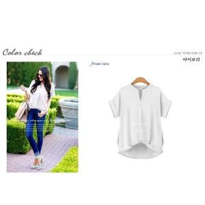 裾タックバルーン スキッパーシャツ カジュアル Vネック コットン 半袖 キレイめ カラー5色 サイズ豊富