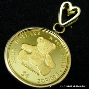 2013年記念 金貨 テディベア コイン ペンダントチェーン付 可愛いハート型バチカン