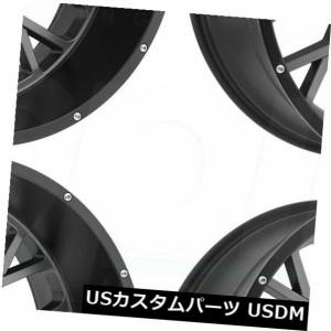 ホイール 4本セット 24x12 Vision 412ロッカー5x5.5 / 5x139.7 -51ガンメタルブラックリップホイールリムセッ