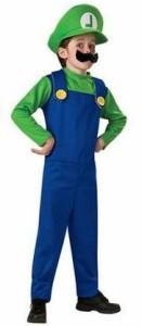 (Freewave)緑 スーパー 子供用 5点セット≪衣装+帽子+ひげ2種+手袋≫コスチューム 衣装 (緑 S(4〜6才用))