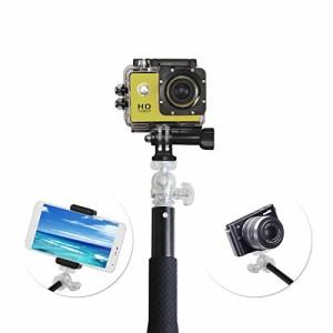 HAMSWAN 新型自撮り棒GoPro 用 一脚モノポッド 伸縮自在 折り畳み式 軽便ポータブル アルミニウム合金製 防水防錆Micro SLR/デジカメ/ iP