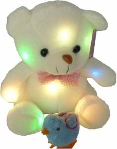 Life Connection 光る! 熊 さん ぬいぐるみ LED 七色に光る 人形 テディペア プレゼント 贈物 誕生日 歩く ひよこ 付き772 (A)