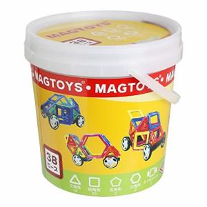 MAGTOYS マグトイズ 38ピース くるまがつくれるセット 収納バケツ・作り方ガイドRS マグネットブロック (38ピース)