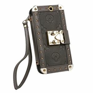 (Bidear) iPhoneXケース 手帳型ケース カードポケット付き(6枚) ネックストラップ付き (iPhonex 15cm, グレー)