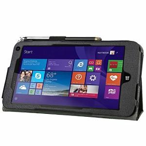 (3点セット防指紋液晶フィルム2枚付)HP Stream 7 windows 8.1 Tablet ケース カバー マグ良質PUレザーケース ブラック