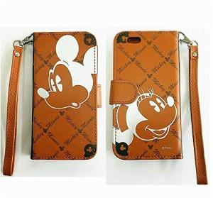 【 全6種類 】 iPhone6 専用 ディズニー / スヌーピー 手帳型 ケース カード収納ポケット×3 / ミニタオル との2点セット (ミッキーミ