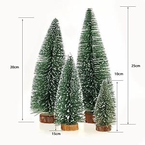 GEEDIAR 小型 クリスマスツリー ミニ 卓上 テーブル ツリー オーナメント クリスマス 飾り 松木 雪 (10+15+20+25、4個)