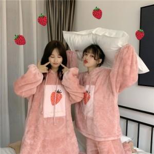 パジャマ レディース いちご柄 もこもこ パジャマ ゆったり  冬 部屋着 パジャマ ワンピース  イチゴ かわいい ルームウェア