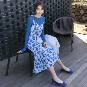 29f76072f8404 マタニティ ワンピース 青いニットシャツと花柄マタニティキャミソールマキシワンピース