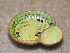 ポルトガル製 陶器 手描き オリーブ柄 食器 コンビボウル ソース ディップ 用の 仕切り