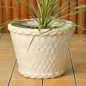 ポルトガル製 陶器製 植木鉢 バスケット風 ベージュホワイト アンティーク仕上げ《底穴あり》直径32cm