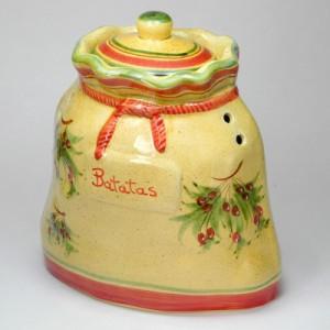 ポルトガル製 手描きレッドオリーブ柄 野菜ストッカー 野菜保存容器