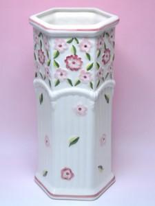 ポルトガル製 傘立て 陶器 六角 花柄 レインラック プリティ ピンク