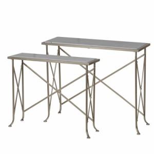 【送料無料】大理石 コンソールテーブル 2セット ネストテーブル アイアン 飾り台 ディスプレイ台 お洒落