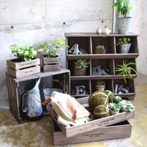 J.W.グリーンポットトレーボックス 木箱 収納ボックス 収納ケース 収納かご 木製  小物入れ
