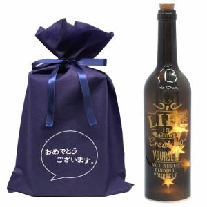 送料無料 【おめでとうございますギフトL】ボトルドライト サインアート ブラック 【L】 おもしろ プレゼント 照明 ランプ おしゃれ