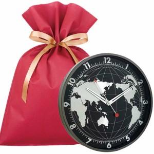 送料無料 EDGE 壁掛け時計 GLOBE (ブラック 30cm) ギフトセット【L】 壁掛け時計 おしゃれ かっこいい 掛け時計 静音 連続秒針