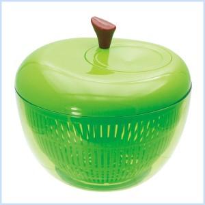 水切り 野菜  カゴ スリム トレー スピナー ハンドル アップル サラダスピナー GREEN
