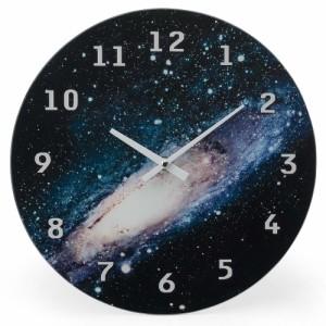 99bb4ba679 コズミック ガラスクロック ウォール ギャラクシー 時計 掛け時計 おしゃれ アナログ 宇宙 銀河系 ガラス