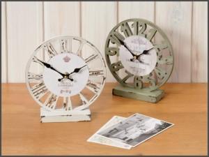 時計 置時計 アナログ アンティーク アメリカン雑貨 オールドルックロック テーブル スケルトン レッド