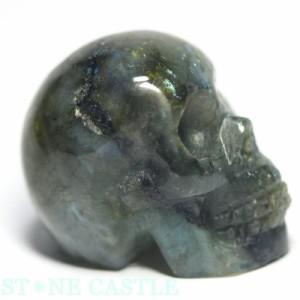 ☆置物一点物☆【天然石 彫刻置物】ドクロ ラブラドライト (小) No.01  パワーストーン