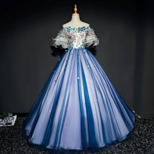 8be54f79974c1 ロングドレス 演奏会 刺繍 ドレス ロング ステージ カラードレス ブルー ウエディングドレス ロングドレス パーティー