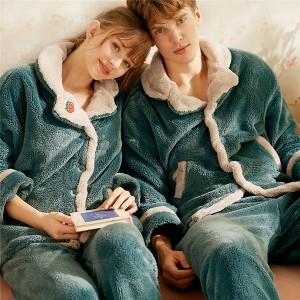 ルームウェア ペアパジャマ もこもこ ナイトガウン レディース パジャマ 長袖 裏起毛 寝巻き カップル メンズ パジャマ 部屋着 防寒 冬