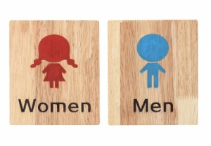 【男女セット】 かわいい トイレ サインプレート 標識 表示板 両面テープ 簡単 取り付けctr-d76【1〜2日発送】
