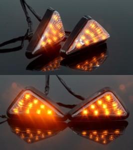 バイク 汎用 LED ウインカー 高輝度 左右セット 三角タイプ イエロー ランプ ライト 交換 修理 カスタマイズctr-h10【1〜2日発送】