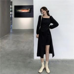 レディース ワンピース ドレス 長袖 スクエアネック ハーフフロントボタン アシンメトリー Aライン スカート カジュアル きれいめ おし