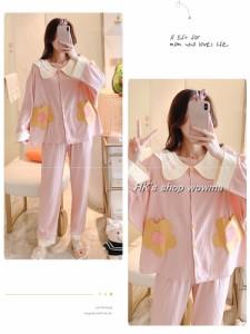 大きめ花柄 パジャマ ルームウェア 授乳口100% コットン レディース  隠し授乳口 ストライプ 授乳服 長袖