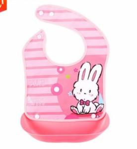 60940112b57199 食事用エプロン 大きな受け皿付 洗濯簡単 携帯便利 3枚セット(ウサギ 子